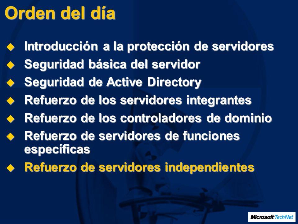 Orden del día Introducción a la protección de servidores