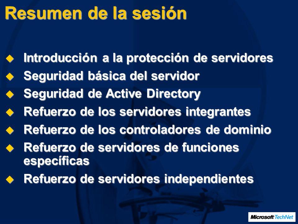Resumen de la sesión Introducción a la protección de servidores