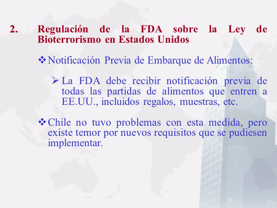 Regulación de la FDA sobre la Ley de Bioterrorismo en Estados Unidos
