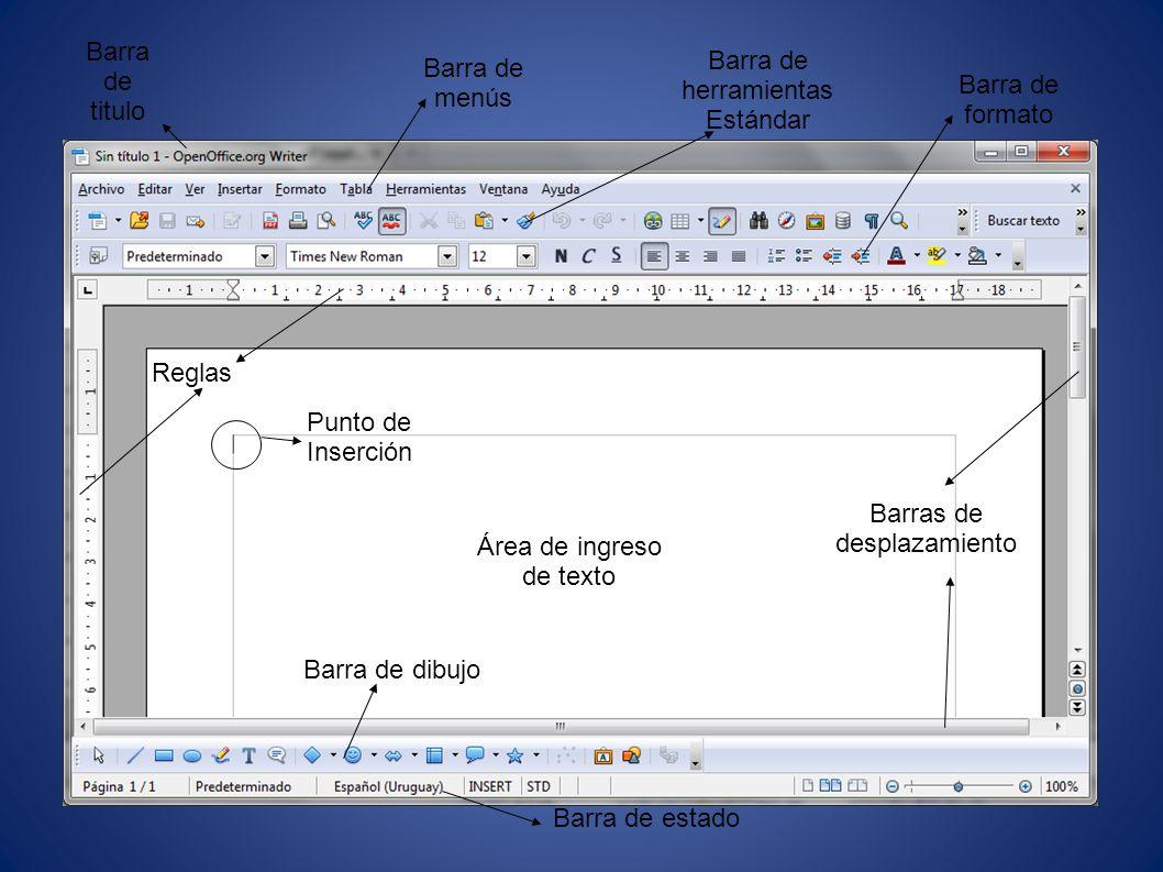 Barra de herramientas Estándar Barra de menús Barra de formato