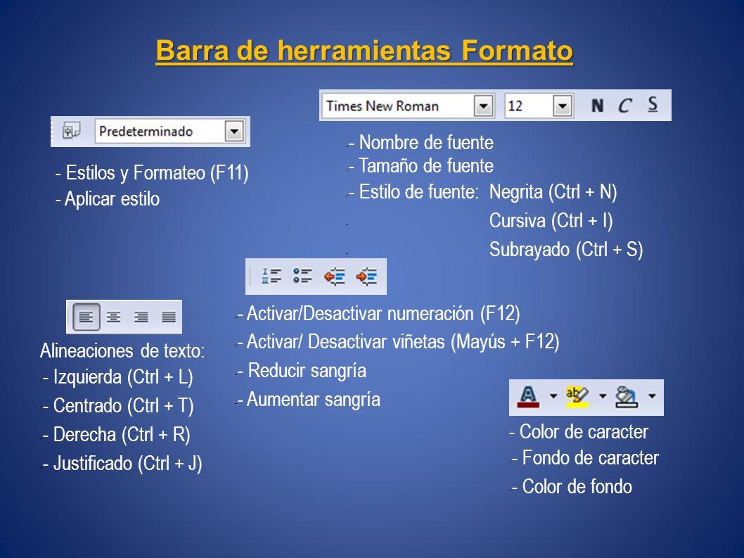 Barra de herramientas Formato