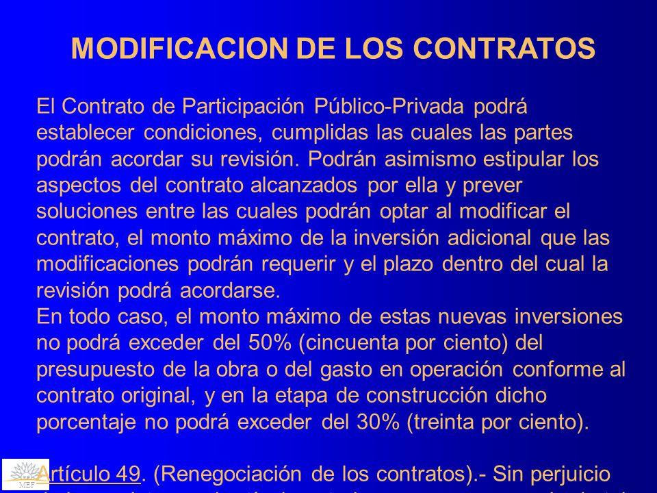 MODIFICACION DE LOS CONTRATOS