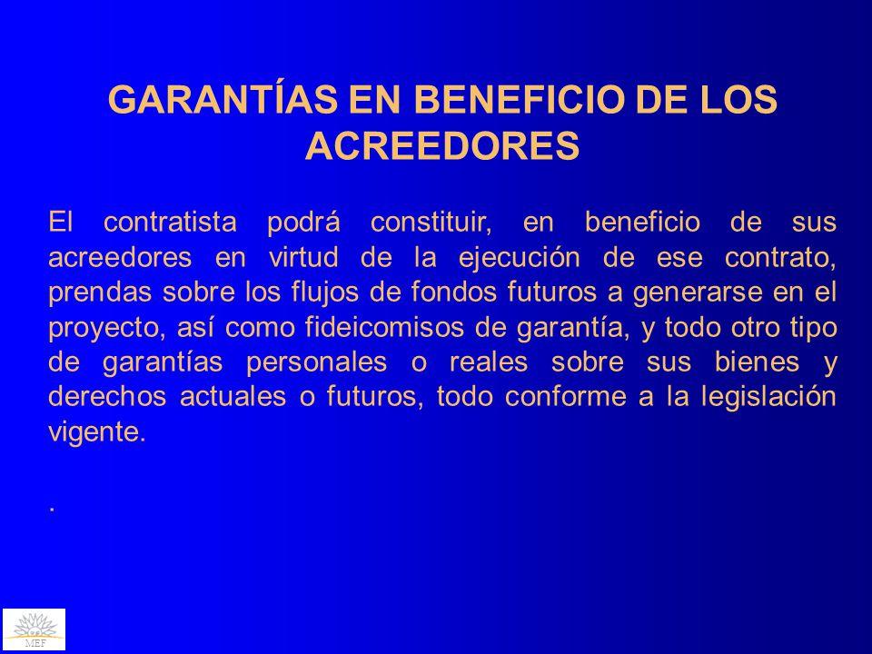 GARANTÍAS EN BENEFICIO DE LOS ACREEDORES