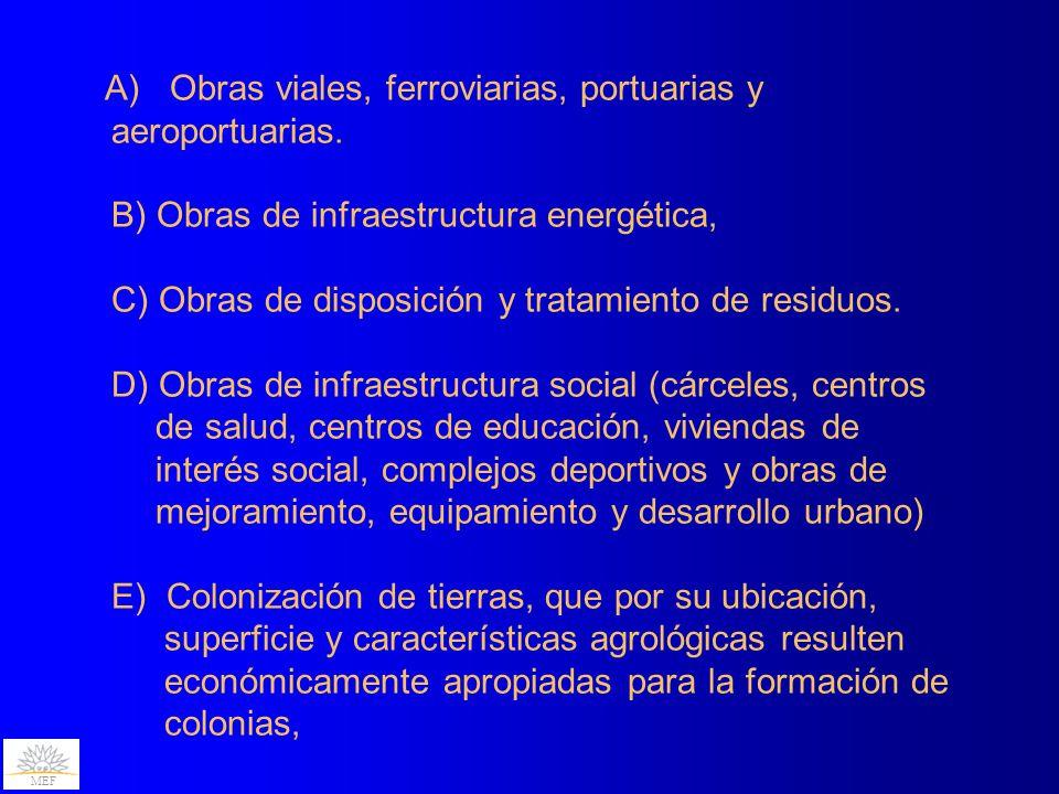 A) Obras viales, ferroviarias, portuarias y aeroportuarias