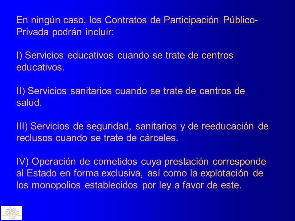 En ningún caso, los Contratos de Participación Público-Privada podrán incluir: