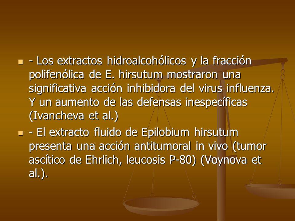 - Los extractos hidroalcohólicos y la fracción polifenólica de E