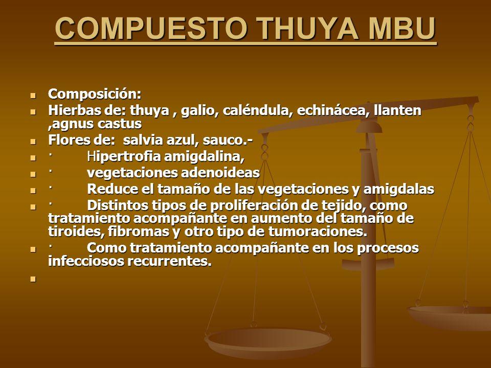 COMPUESTO THUYA MBU Composición: