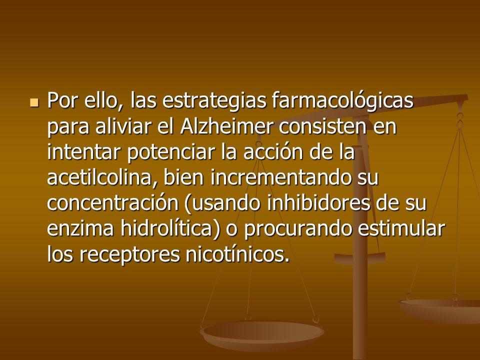 Por ello, las estrategias farmacológicas para aliviar el Alzheimer consisten en intentar potenciar la acción de la acetilcolina, bien incrementando su concentración (usando inhibidores de su enzima hidrolítica) o procurando estimular los receptores nicotínicos.