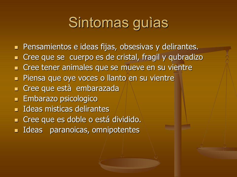 Sintomas guìas Pensamientos e ideas fijas, obsesivas y delirantes.