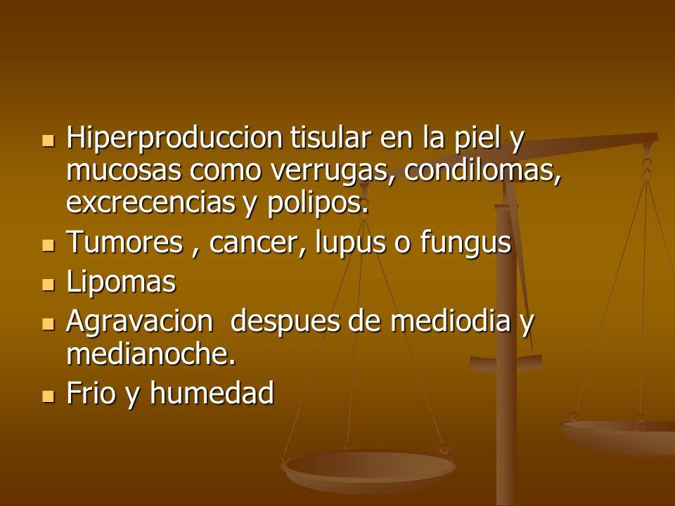 Hiperproduccion tisular en la piel y mucosas como verrugas, condilomas, excrecencias y polipos.