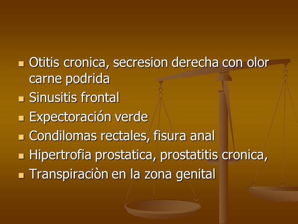 Otitis cronica, secresion derecha con olor carne podrida