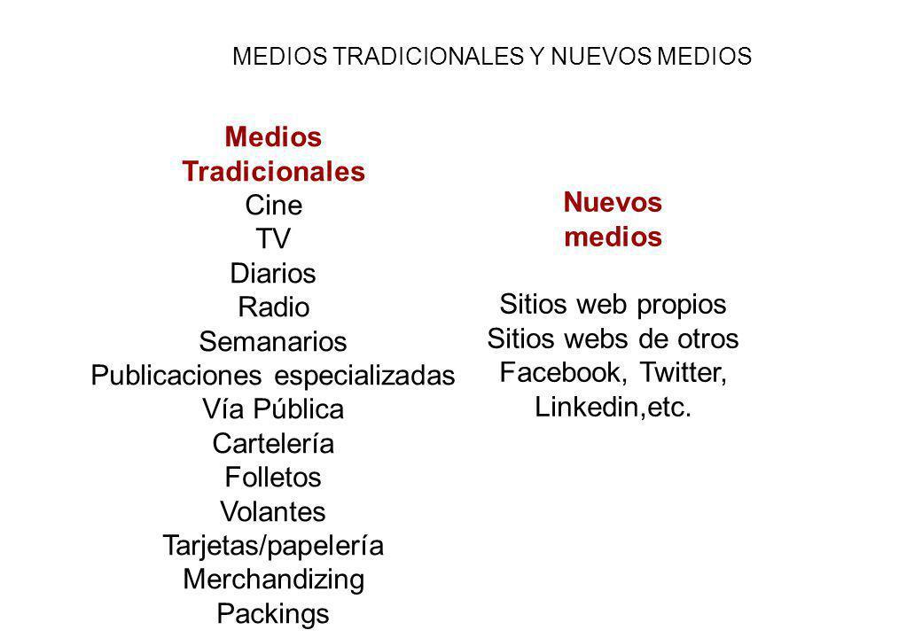 Medios Tradicionales Nuevos medios