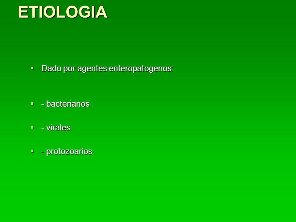 ETIOLOGIA Dado por agentes enteropatogenos: - bacterianos - virales