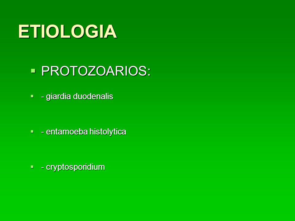 ETIOLOGIA PROTOZOARIOS: - giardia duodenalis - entamoeba histolytica