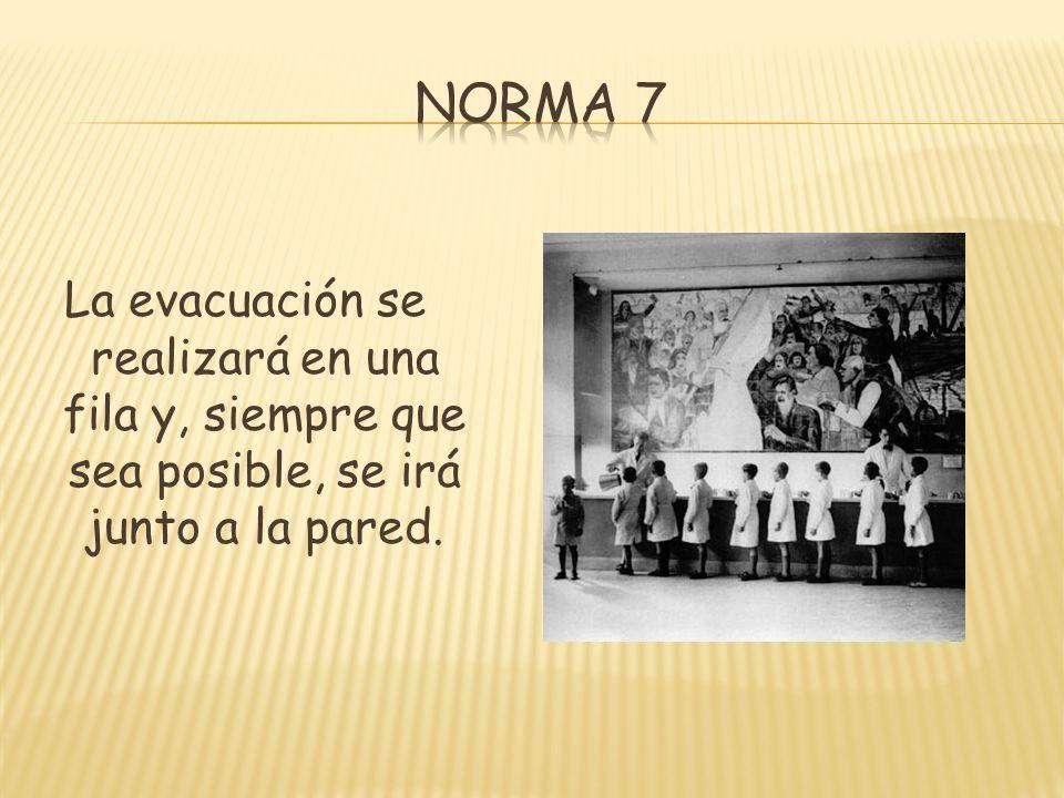 Norma 7 La evacuación se realizará en una fila y, siempre que sea posible, se irá junto a la pared.