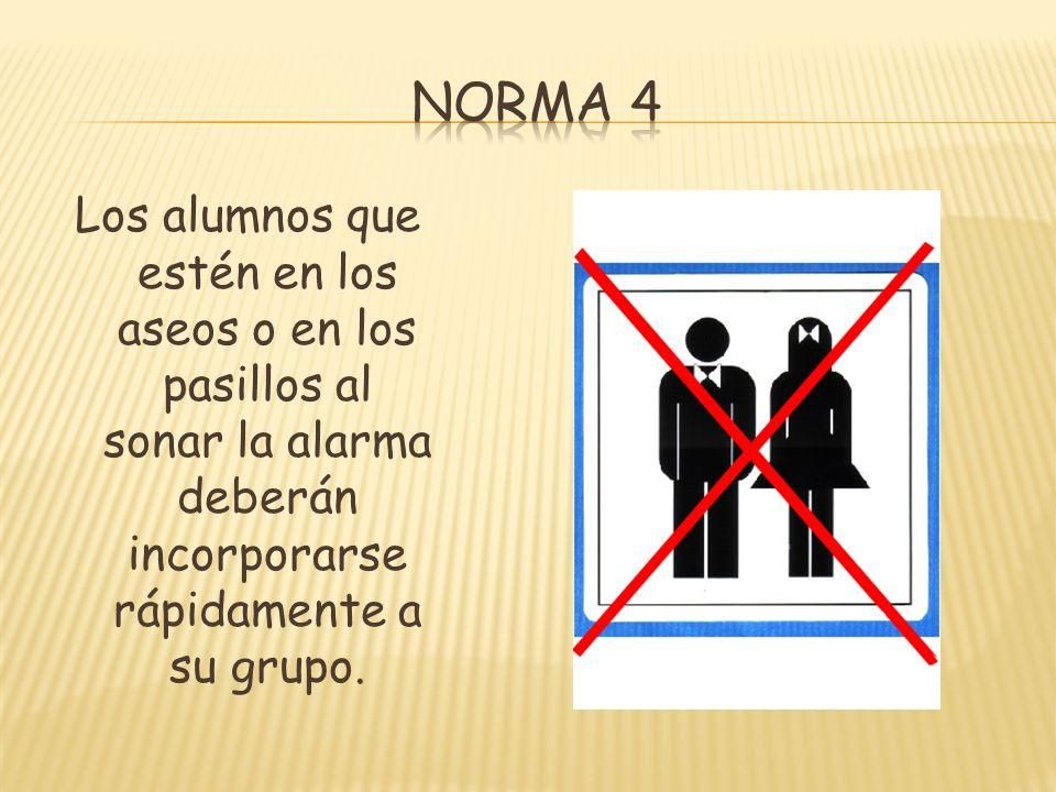 Norma 4 Los alumnos que estén en los aseos o en los pasillos al sonar la alarma deberán incorporarse rápidamente a su grupo.