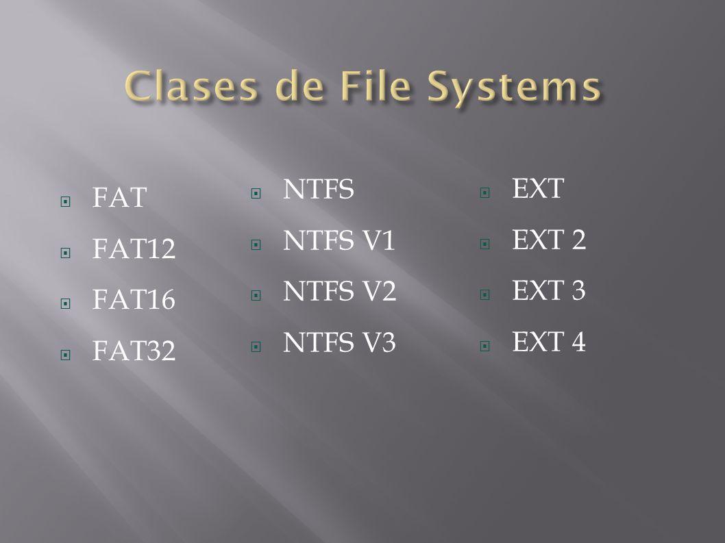 Clases de File Systems NTFS EXT FAT NTFS V1 EXT 2 FAT12 NTFS V2 EXT 3