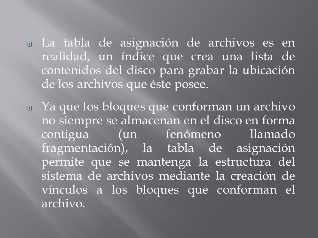 La tabla de asignación de archivos es en realidad, un índice que crea una lista de contenidos del disco para grabar la ubicación de los archivos que éste posee.