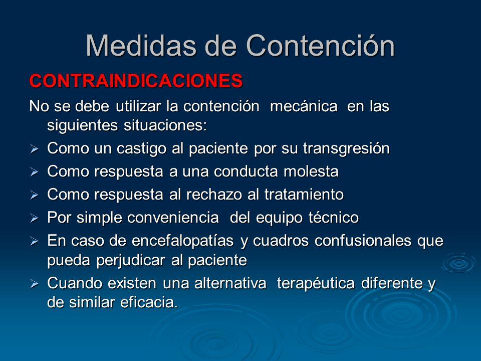 Medidas de Contención CONTRAINDICACIONES