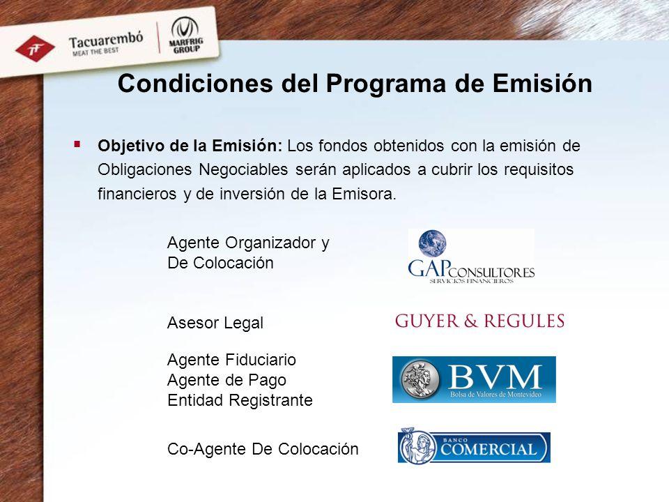 Condiciones del Programa de Emisión