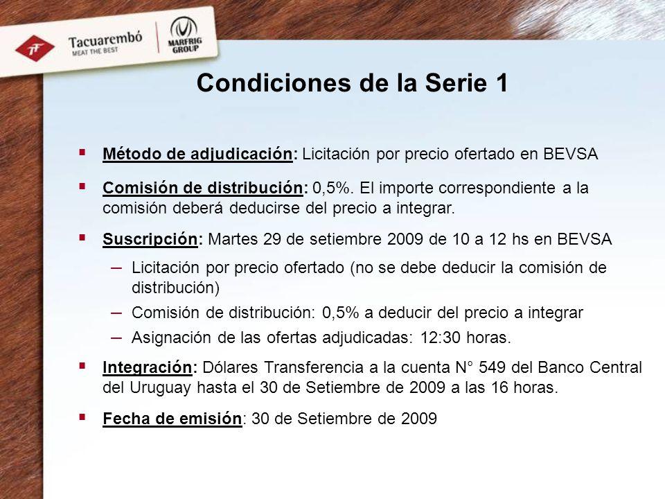 Condiciones de la Serie 1