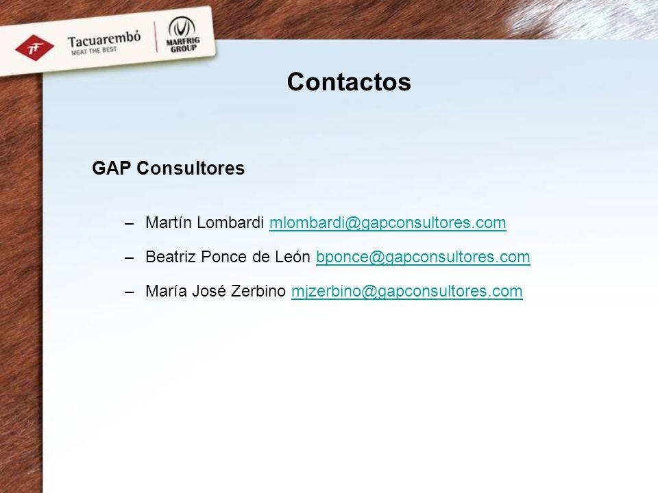 Contactos GAP Consultores Martín Lombardi mlombardi@gapconsultores.com
