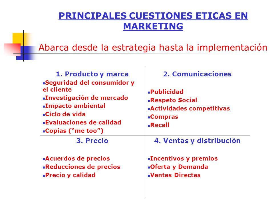 PRINCIPALES CUESTIONES ETICAS EN MARKETING Abarca desde la estrategia hasta la implementación