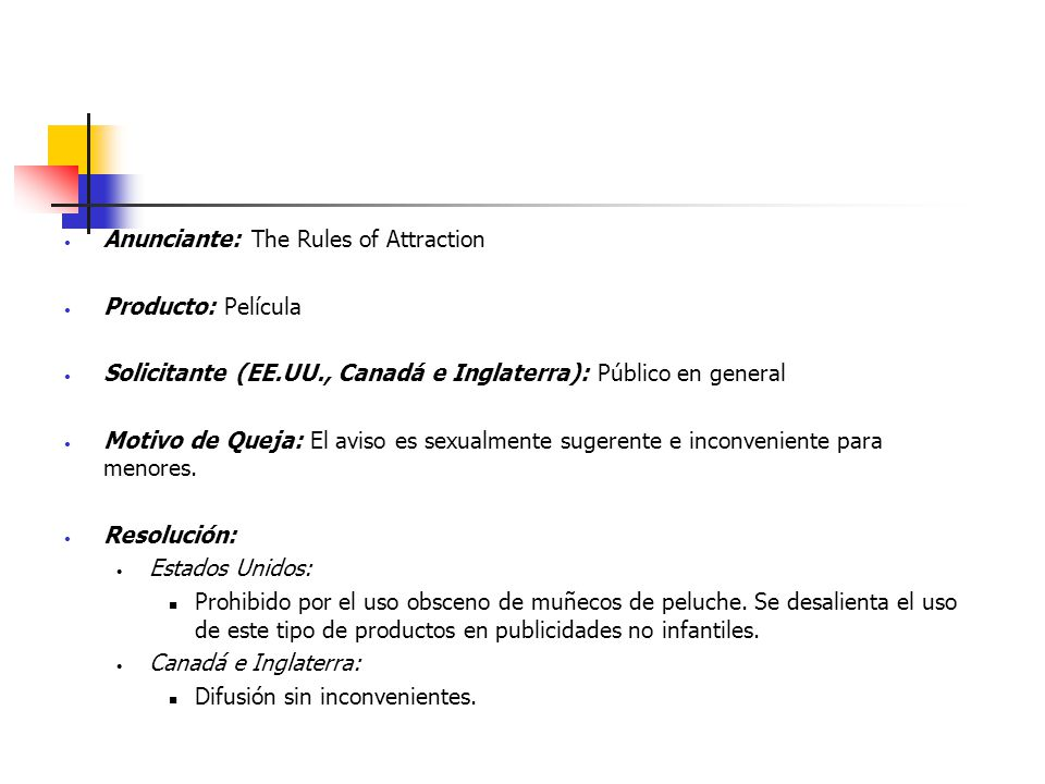 Anunciante: The Rules of Attraction