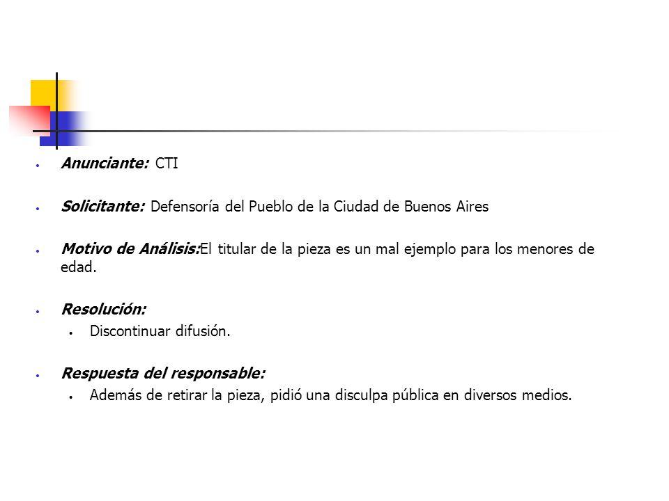 Anunciante: CTI Solicitante: Defensoría del Pueblo de la Ciudad de Buenos Aires.