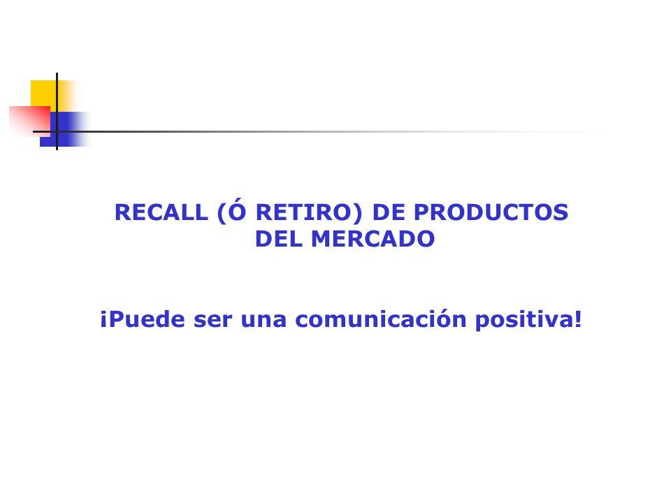 RECALL (Ó RETIRO) DE PRODUCTOS ¡Puede ser una comunicación positiva!