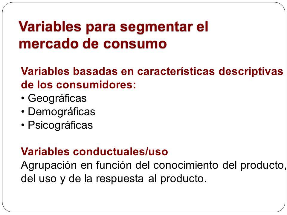 Variables para segmentar el mercado de consumo