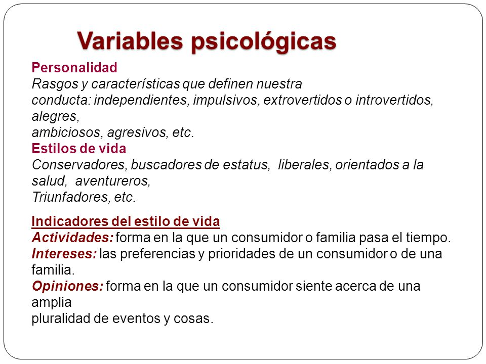 Variables psicológicas