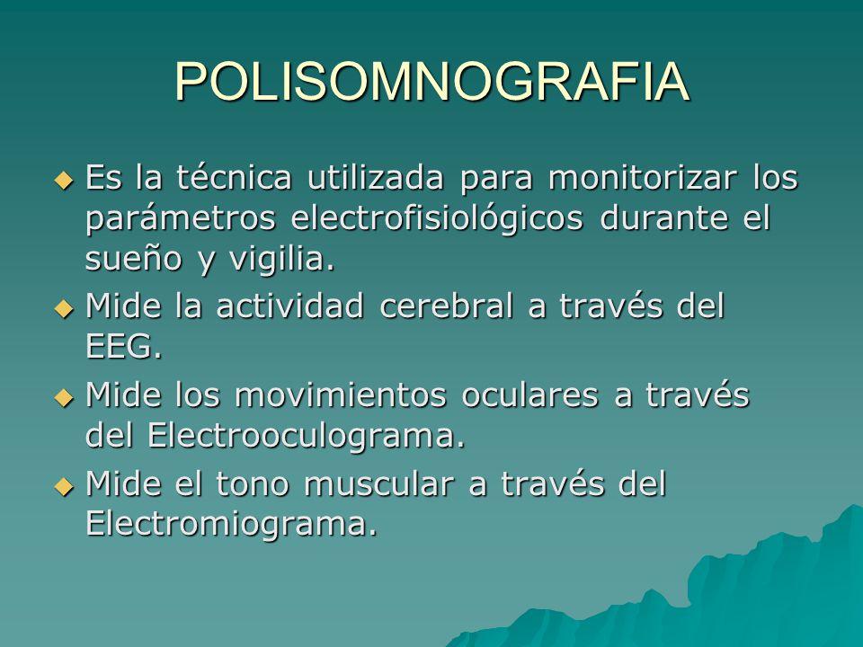 POLISOMNOGRAFIA Es la técnica utilizada para monitorizar los parámetros electrofisiológicos durante el sueño y vigilia.