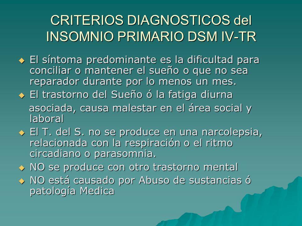 CRITERIOS DIAGNOSTICOS del INSOMNIO PRIMARIO DSM IV-TR