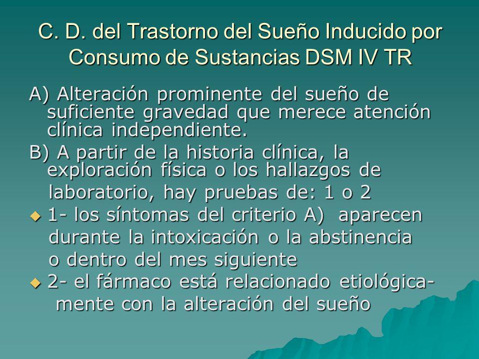 C. D. del Trastorno del Sueño Inducido por Consumo de Sustancias DSM IV TR