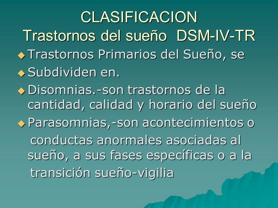 CLASIFICACION Trastornos del sueño DSM-IV-TR