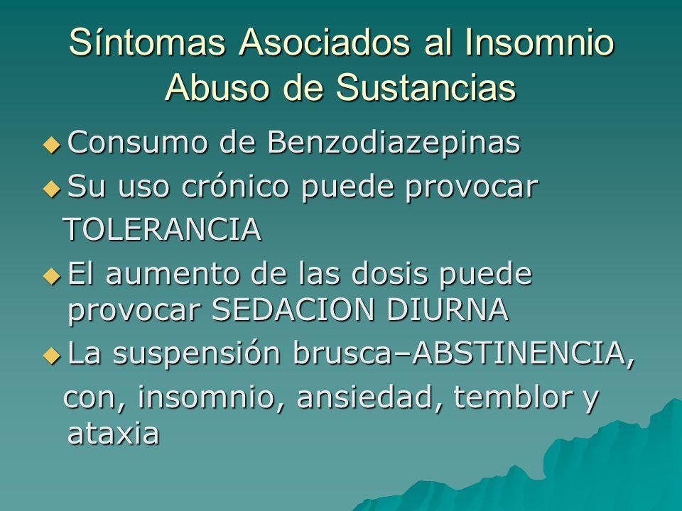 Síntomas Asociados al Insomnio Abuso de Sustancias