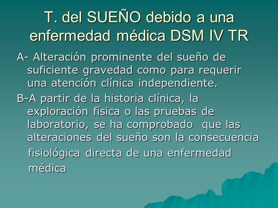 T. del SUEÑO debido a una enfermedad médica DSM IV TR