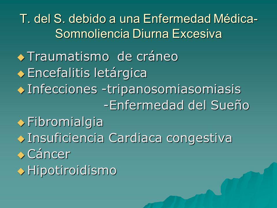 T. del S. debido a una Enfermedad Médica- Somnoliencia Diurna Excesiva