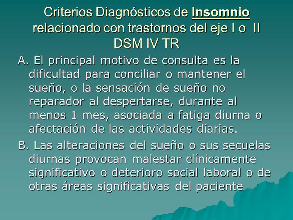 Criterios Diagnósticos de Insomnio relacionado con trastornos del eje I o II DSM IV TR