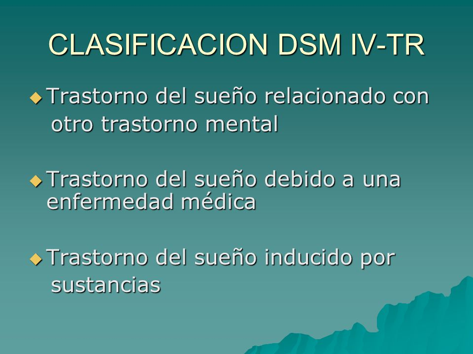 CLASIFICACION DSM IV-TR