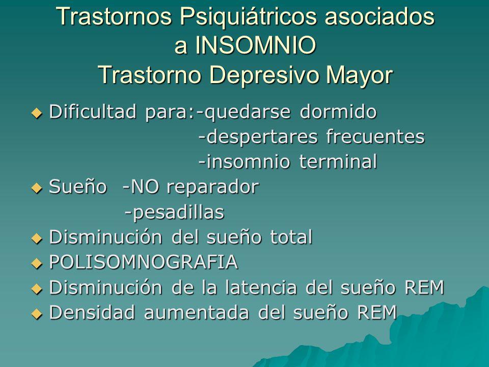 Trastornos Psiquiátricos asociados a INSOMNIO Trastorno Depresivo Mayor