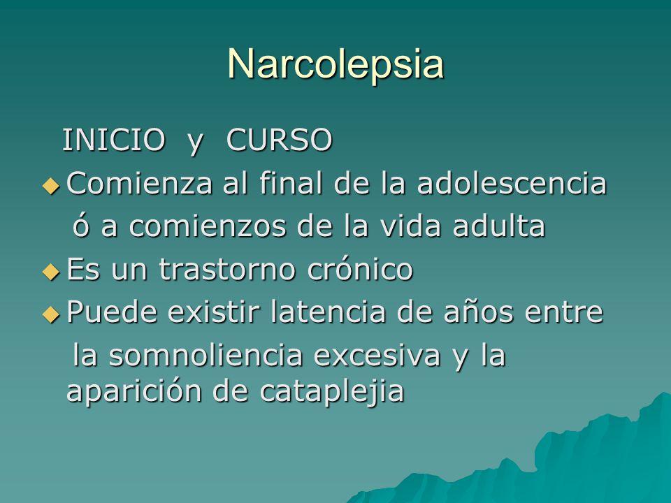 Narcolepsia INICIO y CURSO Comienza al final de la adolescencia