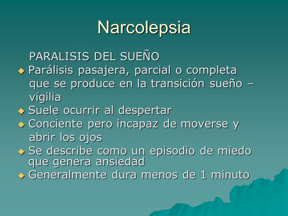 Narcolepsia PARALISIS DEL SUEÑO Parálisis pasajera, parcial o completa