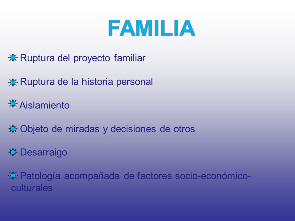Ruptura del proyecto familiar