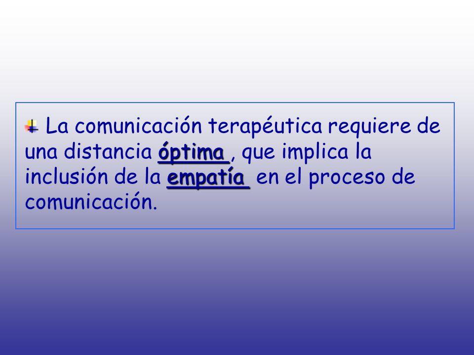 La comunicación terapéutica requiere de una distancia óptima , que implica la inclusión de la empatía en el proceso de comunicación.