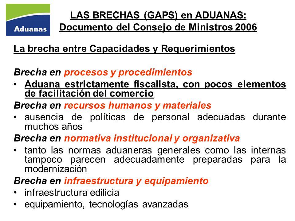 LAS BRECHAS (GAPS) en ADUANAS: Documento del Consejo de Ministros 2006