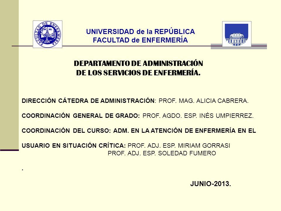 DEPARTAMENTO DE ADMINISTRACIÓN DE LOS SERVICIOS DE ENFERMERÍA.