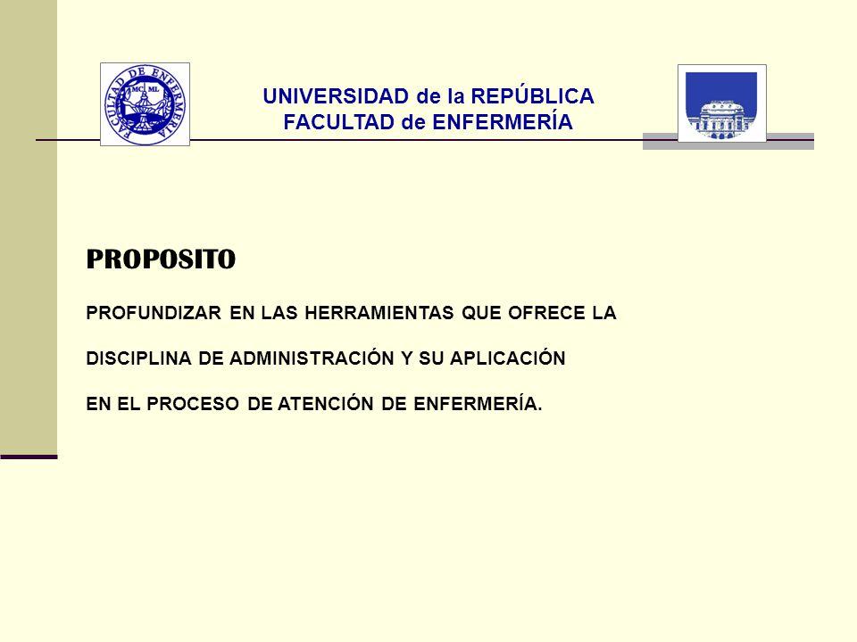 UNIVERSIDAD de la REPÚBLICA FACULTAD de ENFERMERÍA