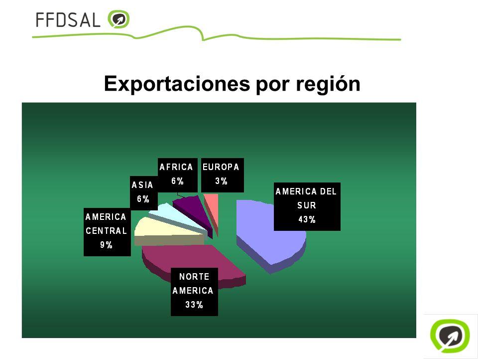 Exportaciones por región